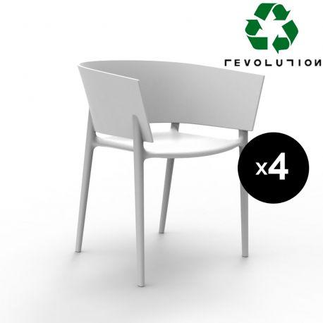 Set de 4 fauteuils Africa Revolution® en plastique recyclé, Vondom blanc Milos 4023