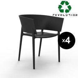 Set de 4 fauteuils Africa Revolution® en plastique recyclé, Vondom noir Manta 4022
