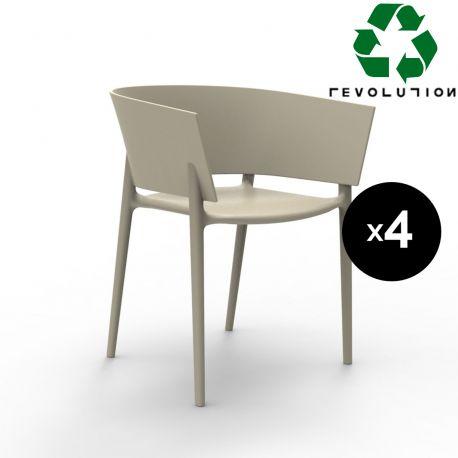 Set de 4 fauteuils Africa en plastique recyclé, Vondom beige Cala 4021