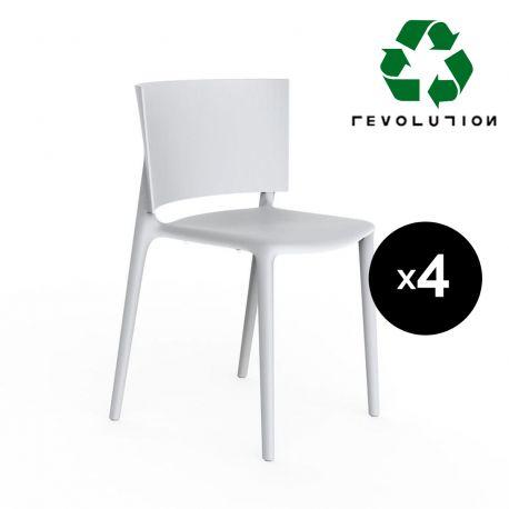 Set de 4 chaises Africa en plastique recyclé, Vondom blanc Milos 4023