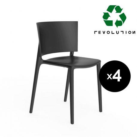 Set de 4 chaises Africa Revolution® en plastique recyclé, Vondom noir Manta 4022