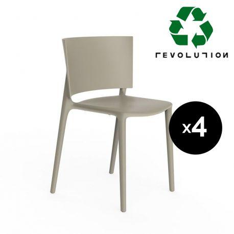 Set de 4 chaises Africa en plastique recyclé, Vondom beige Cala 4021