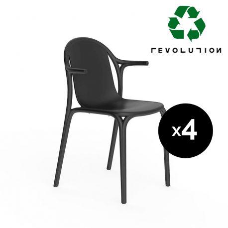 Lot de 4 fauteuils Brooklyn en plastique recyclé, Vondom Noir Manta 4022