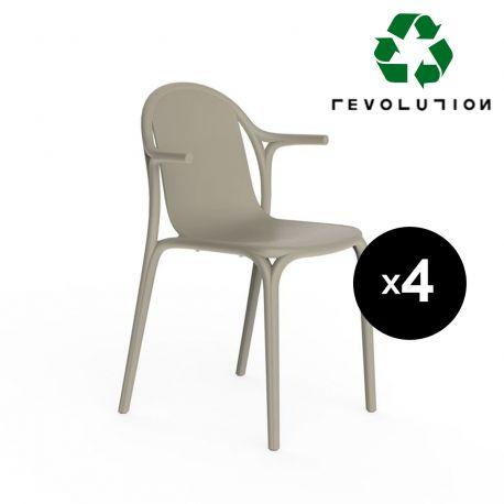 Lot de 4 fauteuils Brooklyn en plastique recyclé, Vondom beige Cala 4021