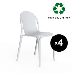 Lot de 4 chaises Brooklyn en plastique recyclé, Vondom blanc Milos 4023