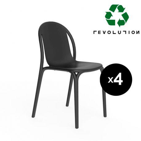 Lot de 4 chaises Brooklyn en plastique recyclé, Vondom Noir Manta 4022