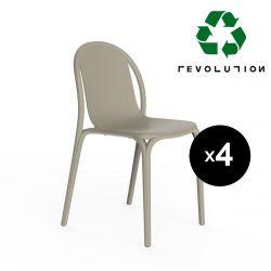 Lot de 4 chaises Brooklyn Revolution® en plastique recyclé, Vondom Beige Cala 4021