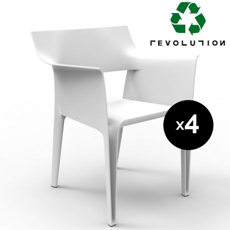Lot de 4 chaises Pedrera en plastique recyclé, Vondom blanc Milos 4023