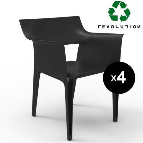 Lot de 4 chaises Pedrera en plastique recyclé, Vondom noir Manta 4022