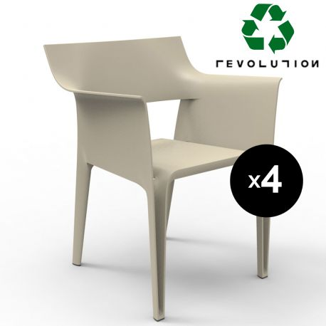 Lot de 4 chaises Pedrera en plastique recyclé, Vondom beige Cala 4021
