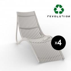 Lot de 4 chaises longues design ondulées Ibiza Revolution® en plastique recyclé, Vondom beige Cala 4021