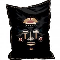Pouf en velours Baba Souk, motif visage africain, Pôdevache