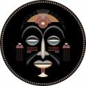 Tapis vinyle masque africain homme diamètre 145cm, collection Baba Souk, Pôdevache