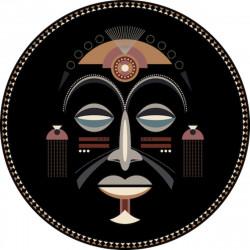 Tapis vinyle rond, masque africain homme, diamètre 198cm, collection Baba Souk, Pôdevache