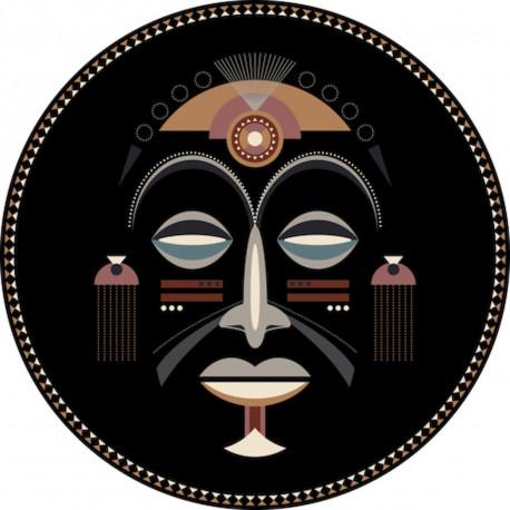 Tapis vinyle masque africain homme diamètre 198cm, collection Baba Souk, Pôdevache