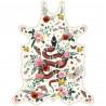 Tapis serpent fond blanc L, vinyle forme peau de bête, 126x159cm, collection Tattoo Compris, Pôdevache