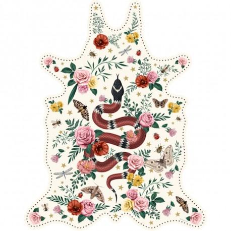 Tapis serpent fond blanc XXL, vinyle forme peau de bête, 198x250cm, collection Tatoo Compris, Pôdevache