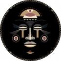 Tapis vinyle rond, masque africain femme diamètre 145cm, collection Baba Souk, Pôdevache