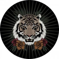 Tapis vinyle rond, tête de tigre, diamètre 145cm, collection Baba Souk, Pôdevache