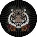 Tapis vinyle rond, tête de tigre diamètre 145cm, collection Baba Souk, Pôdevache