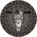 Tapis vinyle rond Buffle, noir, diamètre 145cm, collection Baba Souk, Pôdevache