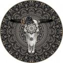 Tapis vinyle rond Buffle, noir, diamètre 198cm, collection Baba Souk, Pôdevache