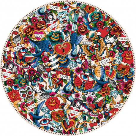 Tapis vinyle rond, mélange de tatouages, diamètre 198cm, collection Tatoo Compris, Pôdevache