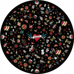 Tapis vinyle rond, tatouage Love, noir, diamètre 198cm, collection Tatoo Compris, Pôdevache