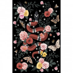 Tapis vinyle serpent fond noir rectangulaire, 139x198cm, collection Tatoo Compris, Pôdevache