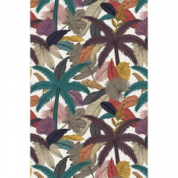 Tapis vinyle palmiers et feuilles rectangulaire, 139x198cm, collection Tropicalisme, Pôdevache