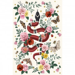 Tapis vinyle serpent fond blanc rectangulaire, 198x285cm, collection Tatoo Compris, Pôdevache