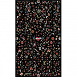 Tapis vinyle tatouage Love rectangulaire, noir, 198x285cm, collection Tatoo Compris, Pôdevache