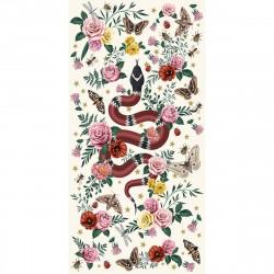 Tapis vinyle serpent fond blanc rectangulaire, 99x198cm, collection Tattoo Compris, Pôdevache