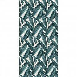 Tapis vinyle Feuilles Bleues rectangulaire, 99x198cm, collection Tropicalisme, Pôdevache