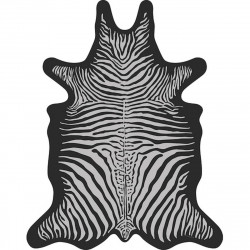 Tapis Zèbre XXL, vinyle forme peau de bête, Podevache, gris clair fond noir