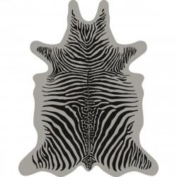 Tapis Zèbre XXL, vinyle forme peau de bête, Pôdevache, noir fond gris clair