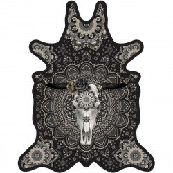 Tapis buffle fond noir L, vinyle forme peau de bête, 126x159cm, collection Baba Souk, Pôdevache