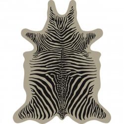 Tapis Zèbre fond beige L, vinyle forme peau de bête, 126x159cm, collection Baba Souk, Pôdevache