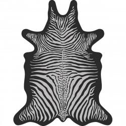 Tapis Zèbre fond noir L, vinyle forme peau de bête, 126x159cm, collection Baba Souk, Pôdevache