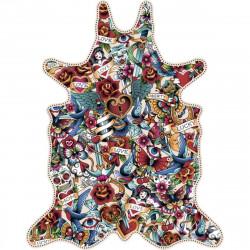 Tapis mélange de tatouages L, vinyle forme peau de bête, 126x159cm, collection Tattoo Compris, Pôdevache