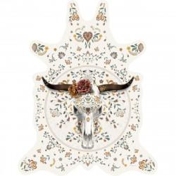 Tapis Buffle fond blanc XL, vinyle forme peau de bête, 148x187cm, collection Baba Souk, Pôdevache