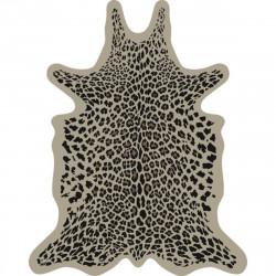 Tapis Léopard fond beige XL, vinyle forme peau de bête, 148x187cm, collection Baba Souk, Pôdevache