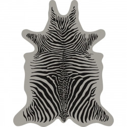 Tapis Zèbre fond gris XL, vinyle forme peau de bête, 148x187cm, collection Baba Souk, Pôdevache