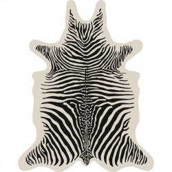 Tapis Zèbre fond écru XL, vinyle forme peau de bête, 148x187cm, collection Baba Souk, Pôdevache