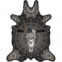 Tapis Buffle fond noir XXL, vinyle forme peau de bête, 198x250cm, collection Baba Souk, Pôdevache
