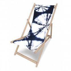 Transat motif Hippie, fond bleu, collection Psychedelic, Pôdevache
