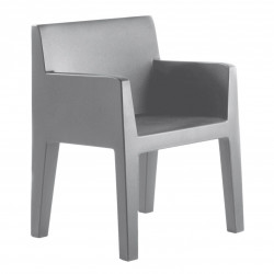 Chaise avec accoudoirs indoor-outdoor Jut Vondom gris argent
