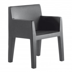 Chaise avec accoudoirs indoor-outdoor Jut Vondom gris anthracite