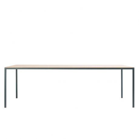 Table rectangulaire extensible Dry, structure acier et plateau bois, hauteur 70cm, Ondarreta