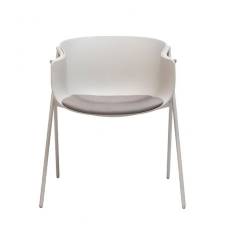 Chaise organique Bai avec coussin d'assise en tissu Era Generation, Ondarreta, Blanc-Gris